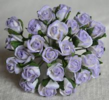 8mm LIGHT LILAC SEMI-OPEN ROSE BUDS Mulberry Paper Flowers